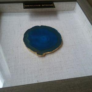 Agate Stone Framed Wall Art Aqua and Gold
